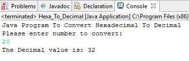 Java Program To Convert Hexadecimal To Decimal
